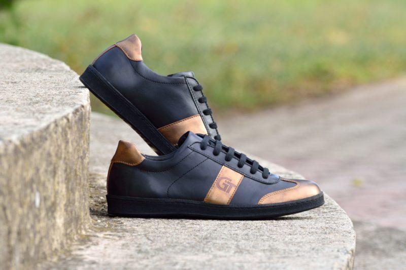 G&T Fekete - Bronz bőr sportcipő