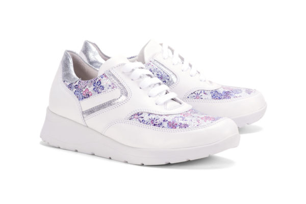 G&T Alina, Fehér - Lila virág - Ezüst női cipő