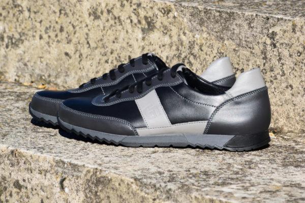 G&T Aktív Fekete - Szürke Duó bőr sportcipő