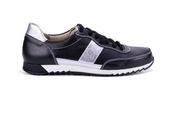 G&T Aktív Fekete - Ezüst bőr sportcipő