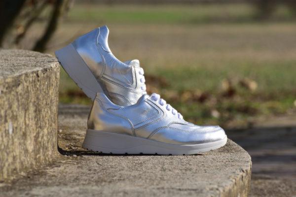 G&T Alina Ezüst női bőrcipő
