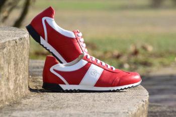 G&T PRO-19 Piros - Fehér bőr sportcipő