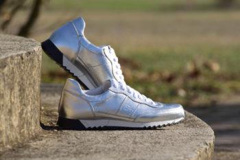 G&T Aktív Ezüst női bőr sportcipő