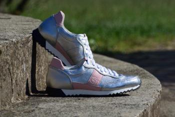 G&T Aktív Ezüst - Korall bőr sportcipő
