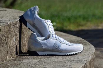 G&T Aktív Fehér - Ezüst női bőr sportcipő
