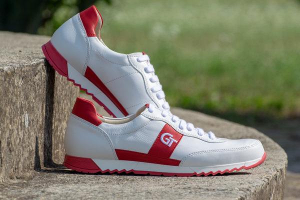 G&T Aktív Fehér - Piros bőr sportcipő hímzett logóval