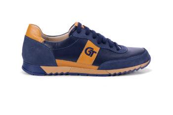 G&T Aktív Óceán - Mustár bőr sportcipő hímzett logóval