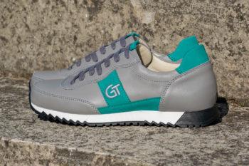 G&T Aktív Füst szürke - Aloe bőr sportcipő hímzett logóval
