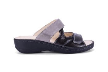 G&T Ivett Fekete - Füst csillám bőr kényelmi papucs