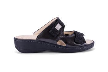 G&T Ivett Fekete Lakk - Csillám Mozaik bőr kényelmi papucs