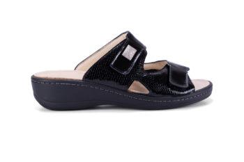 G&T Ivett Fekete Lakk - Mozaik bőr kényelmi papucs