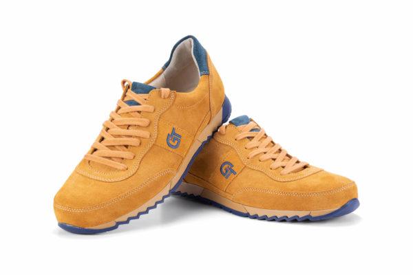 G&T Aktív Mustár - Velencei kék bőr sportcipő