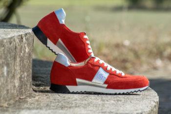 G&T Aktív Vörös velúr - Ezüst bőr sportcipő
