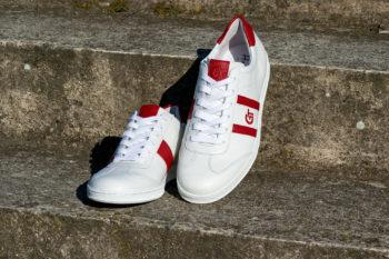 G&T Klasszikus Fehér - Piros barkás bőr sportcipő