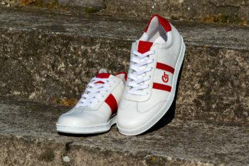 G&T Klasszikus Fehér - Piros lakk bőr sportcipő