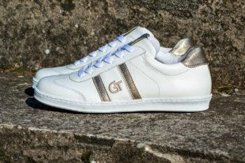 G&T Klasszikus Fehér barkás - Arany bőr sportcipő
