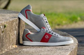 G&T Pro-20 Szürke - Piros barkás bőr sportcipő