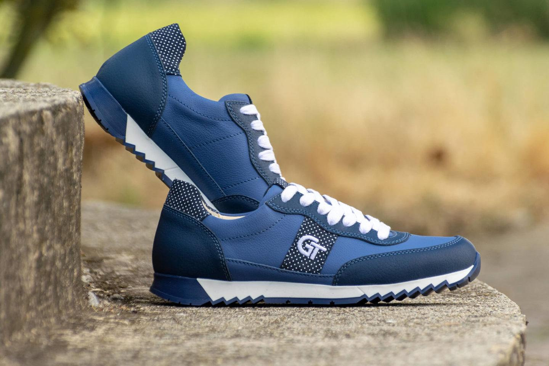 G&T Aktív Kék - Fehér pettyes női bőr sportcipő - Limitált