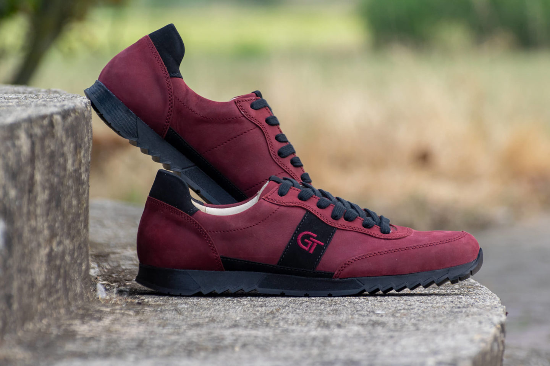G&T Aktív Bordó - Fekete nubuk bőr sportcipő