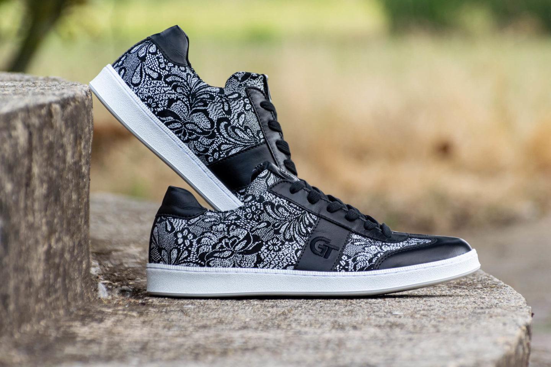 G&T Klasszikus Csipke - Fekete bőr sportcipő
